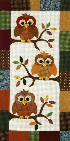 Fall Skinnie Quilt Kit in Wool: designed by Margie Ullery for Quiltmaker in Quiltmaker Maker Magazine July/August 2013 Owl Quilts, Animal Quilts, Baby Quilts, Owl Applique, Applique Quilts, Small Quilts, Mini Quilts, Owl Patterns, Quilt Patterns