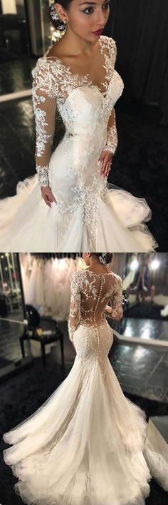 Long Sleeve Lace Mermaid Wedding Dresses, Sexy See Through Long Custom Wedding Gowns, Affordable Bridal Dresses by MeetBeauty, $335.64 USD