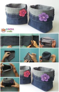 How-To-Make-Bags-From-Recycled-Jeans diy recycle jeans, deni Jean Crafts, Denim Crafts, Wood Crafts, Fabric Crafts, Sewing Crafts, Sewing Projects, Paper Crafts, Jeans Recycling, Jean Diy