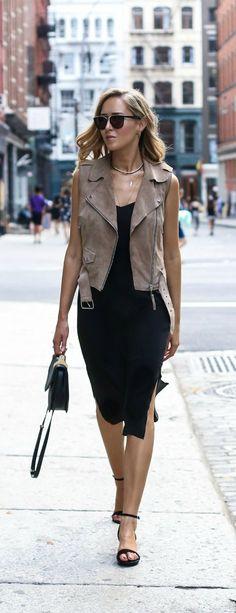 black slip midi dress, taupe suede moto vest, black suede block heels, black handbag + layered gold necklaces {ann taylor, reiss, steve madden, m2malletier}