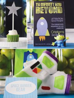 Toy Story Birthday Party Buzz Lightyear disney woody Moon pies, Milky Way Mini Cheesecakes, and lime green juice
