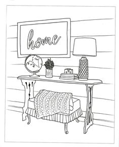 The Inspired Room Coloring Book: Creative Spaces to Decorate as you Dream Outline Drawings, Doodle Drawings, Doodle Art, House Colouring Pages, Coloring Books, Hand Embroidery Designs, Embroidery Patterns, Perspective Drawing Lessons, Free Adult Coloring Pages