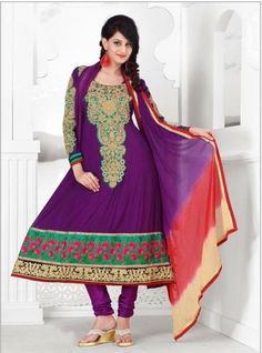 Violet Georgette Anarkali; Paired With A Matching Bottom; Comes With A Contrast Deep Red, Cream & Violet Shaded Chiffon Dupatta.The suit set comes with 3 pieces, an unstitched salwaar, a semi stitched kurti/anarkali and a fully finished dupatta.