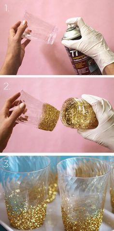 DIY Glitter glass from Guff.com These DIY Birthday Party Ideas are awesome!