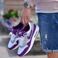 Nike Air Purple and White The best way to protect your sneakers from the effects of gravity and wear is to start from the inside with shoe trees by Sole Trees #ShoeTrees #ShoeTree #SoleTree