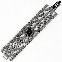 free shipping High Quality Antique Black Alloy with Crystal Rhinestone Women Girls' Lady Quartz Adjustable Wrist Watch