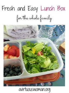 Lunch Boxes {Fresh Fruit and Salad} - A Virtuous Woman Healthy School Lunches, Healthy Snacks, Healthy Eating, Healthy Recipes, Yummy Recipes, Easy Lunch Boxes, Lunch Box Recipes, Lunchbox Ideas, Dinner Recipes