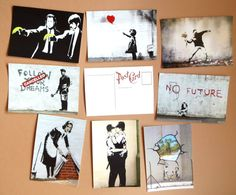 Banksy poster 8 vintage postcards prints от PaperBunnyWorkshop #postcards #geek #art #sale #buy #poster #prints #photo #paintings