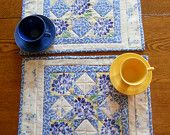 Quilted Placemats Retro Vintage Style Rainbow of Colors Set of 4. $50.00, via Etsy.