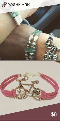 "Bicycle Bracelet on any color leather suede cord Custom - any color straps available for this silver bicycle bracelet! 6.5""-7.5"" with adjustable chain and lobster clasp Jewelry Bracelets"