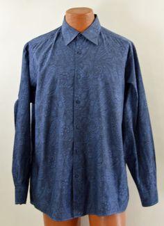 Bugatchi Uomo Men's Large Shirt Blue Cotton Paisley Long Sleeve Ex Used #BugatchiUomo #ButtonFront