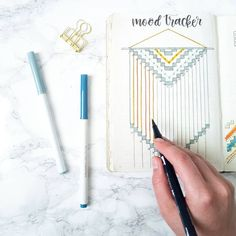 I had a difficult time with my mood tracker, but I like how it ended up! I decided to go for a woven-looking wall hanging type design. Bullet Journal Titles, Bullet Journal Tracker, Bullet Journal Mood, Bullet Journal Inspiration, Book Journal, Bullet Journals, Journal Ideas, Bullet Art, Mood Tracker