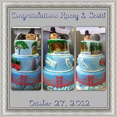 San Francisco themed wedding cake.  Customizable to your favorite places :). $500.00