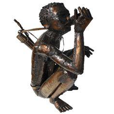 Bushman drinking water Steel Sculpture, Metal Sculptures, Welding Machine, Light Oak, Drinking Water, Welding Set