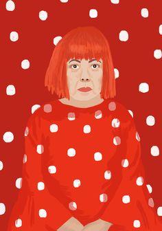 Yayoi Kusama illustration by Janni Valkealahti