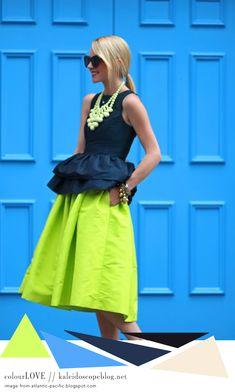Colour Love 42 [electric blue, navy, white, skin tone, blonde, neon yellow,black, green, bright, door, sunglasses, statement necklace, beads, peplum, skirt, jewellery, ponytail, bracelets]