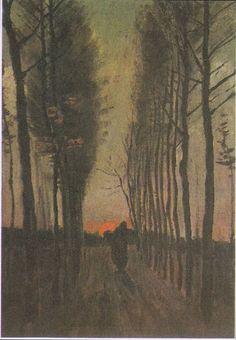 """Poplars at Sunset"" Vincent van Gogh Post Impressionism, Impressionist, Vincent Van Gogh, Gogh The Starry Night, Pick Art, Famous Artwork, Van Gogh Museum, Van Gogh Art, Western Art"