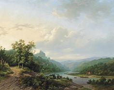 Marinus Adrianus Koekkoek (Dutch painter) 1807 - 1868 A View of the Rhein River near Cleves, 1842 oil on canvas 49 x 61.5 cm. signed and dated 'M.A.Koekkoek. 1842.' (lower left) private collection
