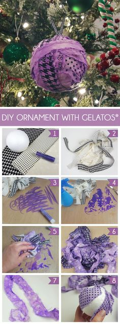 DIY ornament using fabric and Faber-Castell Gelatos.