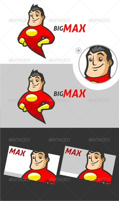 Superhero Logo Template by Suhandi A Supercool logo for your Super project is availble now. this character logo is suitable on any media All done in Vector and Re Logo Character, Character Drawing, Character Design, Superhero Kids, Superhero Logos, Lip Logo, Superman, Cartoon Logo, Mascot Design