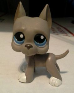 Littlest Pet Shop LPS RARE GREY GREAT DANE DOG BLUE EYES #184 #Hasbro