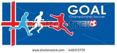 Iceland Soccer Goal. EUROPA. 2016 Championship Soccer. Football Iceland. Logo Goal and soccer player on Iceland flag. Image illustration of Sport football. Iceland flag. Iceland. Viking fan. 2016