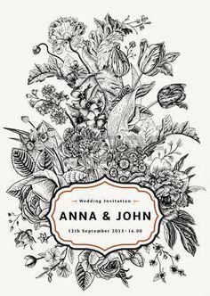 垂直方向の結婚式の招待状。庭の花を持つヴィンテージのカード。ゴールド フレームと黒と白のベクトル。 photo