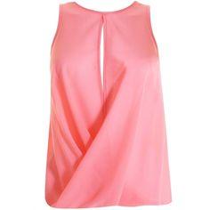 LOVE Pink Chiffon Drape Centre Split Top ❤ liked on Polyvore