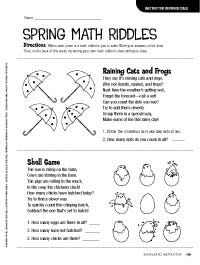 Spring Math Riddles -Greg Tang's tips on having fun in math class