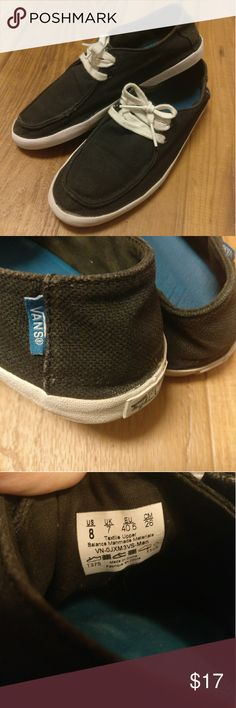Black Vans Rata Vulc Slip On Black Vans Rata Vulc. Slip on loafer style sneakers.   Women's 9.5 / Men's 8 / Unisex style  Nice and comfy used Vans. Some wear and use, as shown in last 2 pictures. But these are in great shape overall. Vans Shoes Sneakers