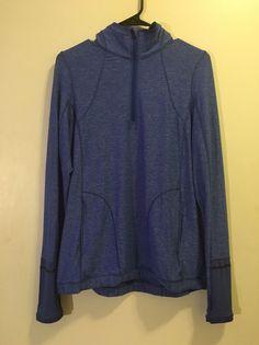 Lululemon Pace Pusher 1/2 Zip Heathered Harbor 12 Pullover Long Sleeve Top #Lululemon #ShirtsTops