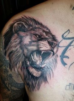 2ca05bc78 Lion Roar Tattoo by Frufru-Punk Lion Hand Tattoo, Lion Chest Tattoo, Leo
