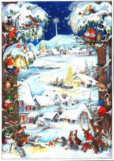 Snowy Village German Advent Calendar