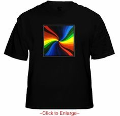Multicolor Spiral EQ Sound Reactive T-Shirt. The T-Shirt has a built-in graphic equalizer with a wide spectrum sensor controller to detect the true rhythm frequency and beat of music. Price $24.99