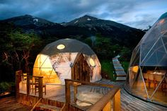 Geodesic Domes at EcoCamp in Torres del Paine National Park, Chile. Photo by Cascada Expediciones.