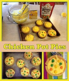 April fools: chicken pot pies; cookie cup, vanilla pudding and candy licorice