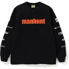 BAPE MANHUNT LS TEE BLACK. #bape #cloth Bape, Mens Fashion, Sweatshirts, Tees, How To Wear, Clothes, Shopping, Moda Masculina, Outfits
