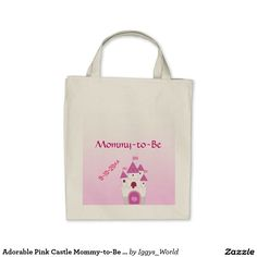 Adorable Pink Castle Mommy-to-Be Baby Shower Tote Bag