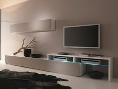Creative Furniture AMSTERDAM CS 11101 Wall Unit - MATERIALMDF, Melamine, Tempered Glass, LED Lighting. Modern livingroom furniture.