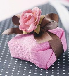 Box wrapped in pretty pink and brown