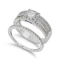 Sterling Silver Polished Two-Piece Engagement Promise Ring with Clear Cubic Zirconia Stones