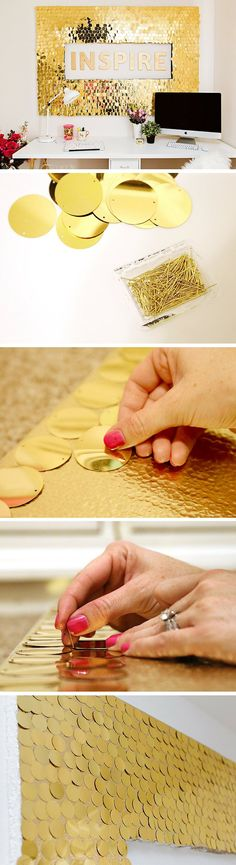 The Chic Technique:  Check out the tutorial: #DIY Sequins Wall Art #crafts #decor