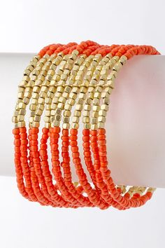 Coral Ariana Bracelet from Emma Stine. A mix of layered seed beads and metallic pebbles perfectly weaved into a gorgeous combination.