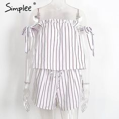 White Bow Stripe Elegant Jumpsuit Romper Off Shoulder Two Piece Suit Overalls Summer