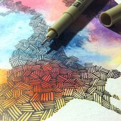 Ink pattern over watercolor, best idea!