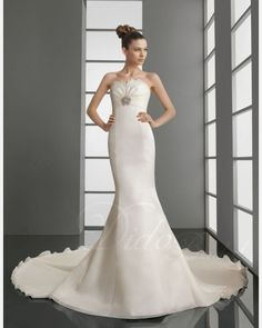 Chic Mermaid Strapless Chapel Train Woth Satin Wedding Dress SKU: WD1048 Regular Price: $301.38 Special Price: $165.76 (45% OFF) You saved $135.62