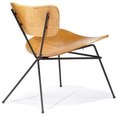 Luther Conover; Molded Plywood and Enameled Metal Lounge Chair, c1950.