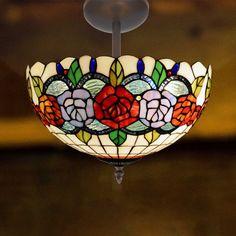 Plafón de techo Rosy cristal Tiffany