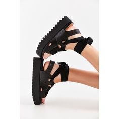 Ribbon Lace-Up Platform Sandal ($79) ❤ liked on Polyvore featuring shoes, sandals, flat shoes, lace up shoes, cork sandals, urban outfitters sandals and cork shoes