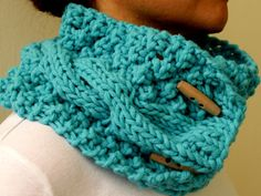 Turquoise Blue Cable Chunky Knit Cowl Neck Warmer Scarf With Buttons